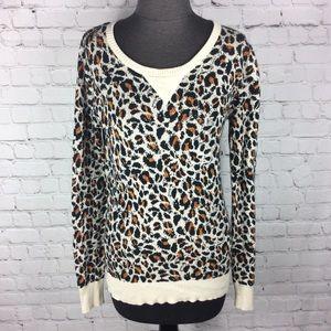 Volcom Sweater Leopard Print Scoop Neck Medium